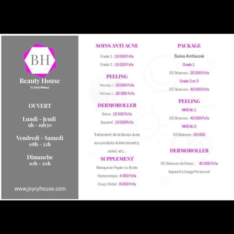 prix beauty house by joycy make up douala